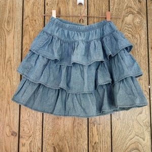 hanna andersson Tiered Denim Skort